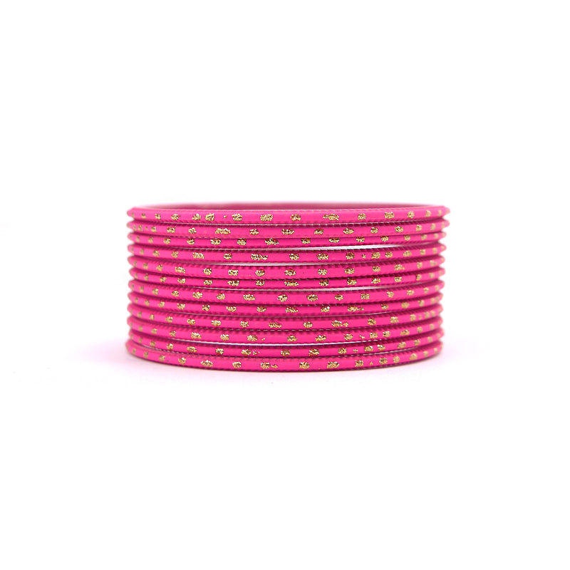 Hot Pink Gold Dot Bangles