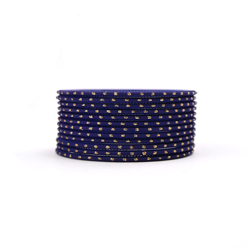 Deep Navy Gold Dot Bangles