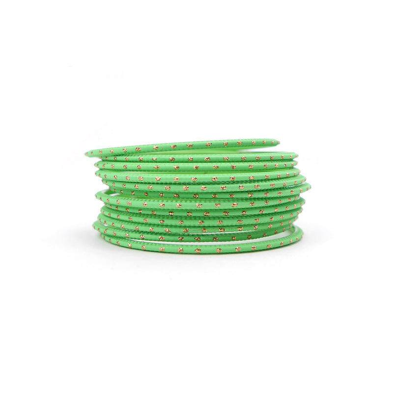 Parrot Green Gold Dot Bangles