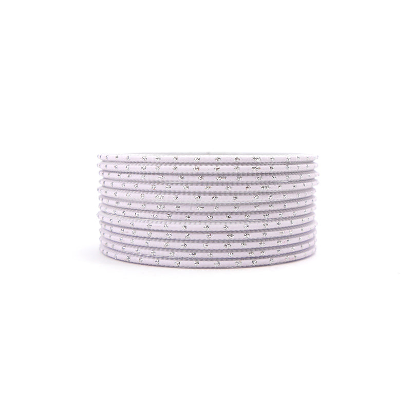 Pure White Silver Dot Bangles