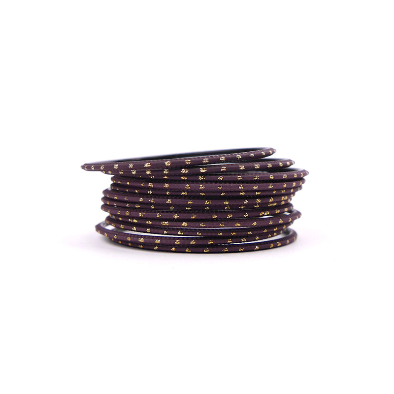 Mauve Gold Dotted Bangles