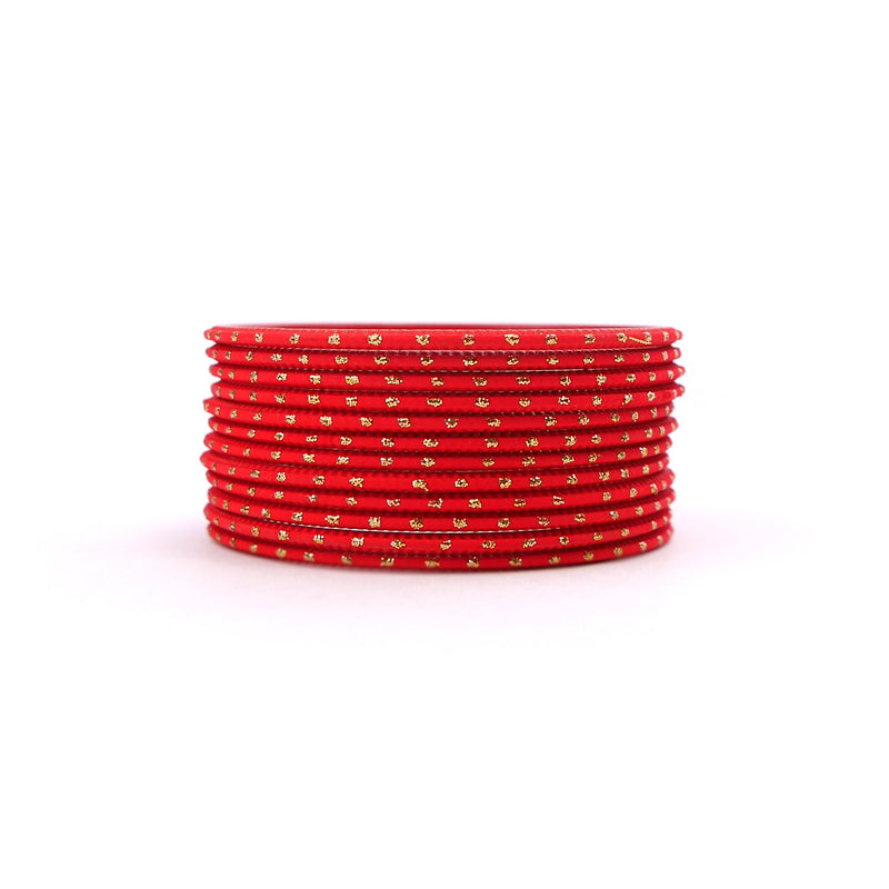 Lava Red Gold Dot Bangles