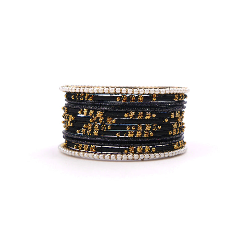 Pretty in Pearl Bangle Set in Black
