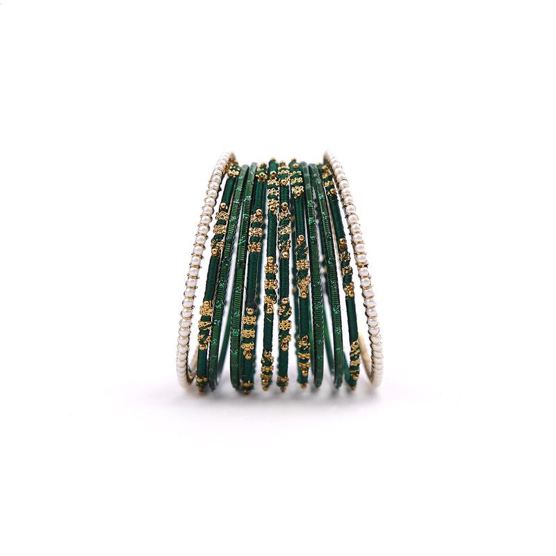 Pretty in Pearl Bangle Set in Forest Green