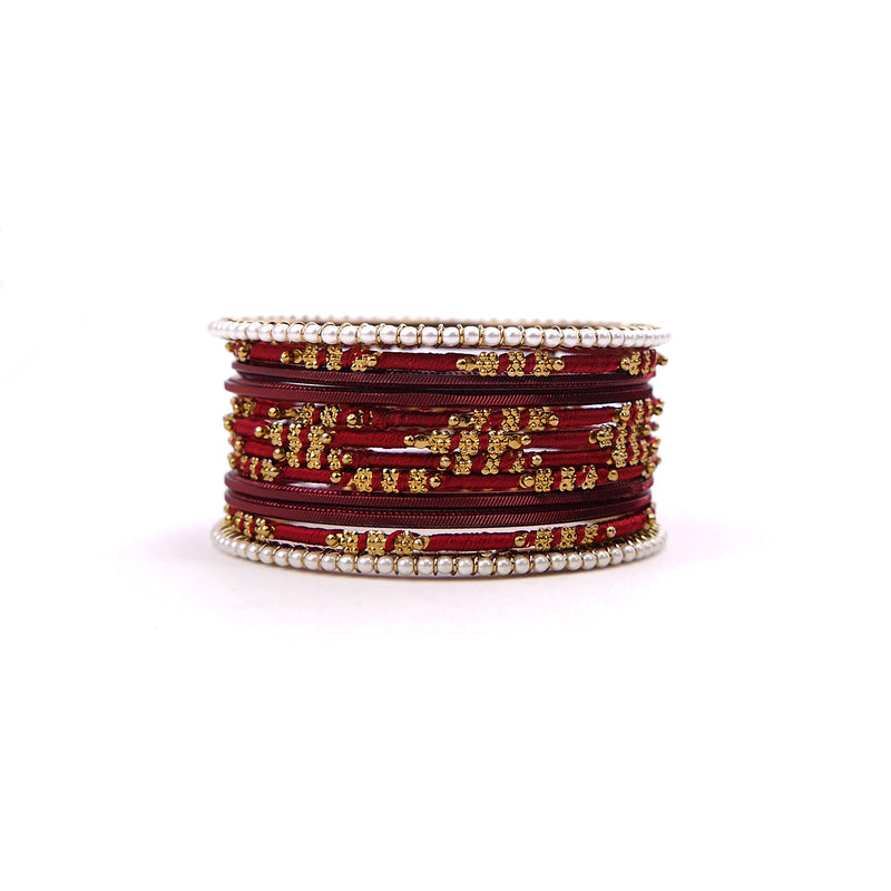 Pretty in Pearl Bangle Set in Maroon
