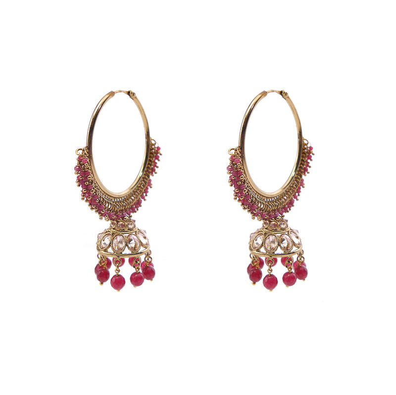 Dara Jhumka Hoops in Ruby