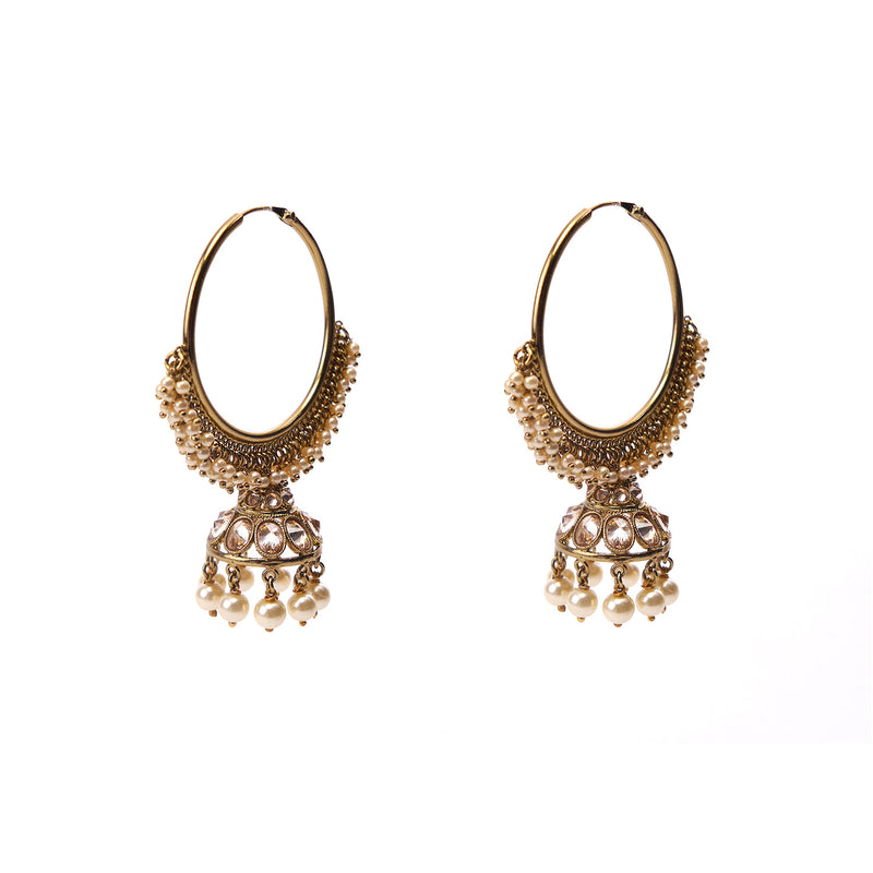 Dara Jhumka Hoops in Pearl