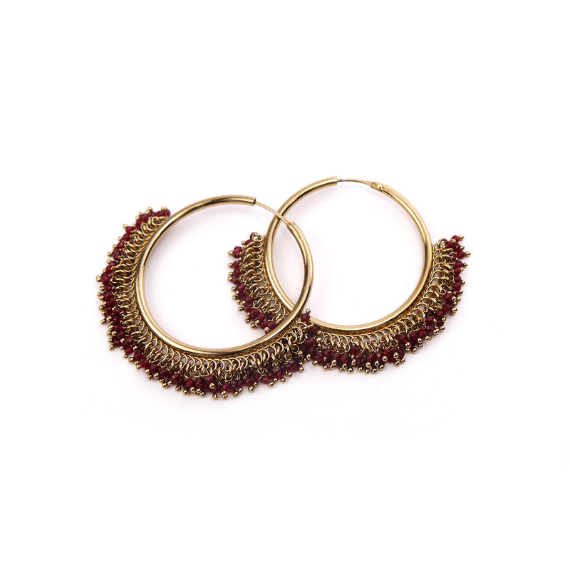 Ella Cluster Hoops in Deep Red
