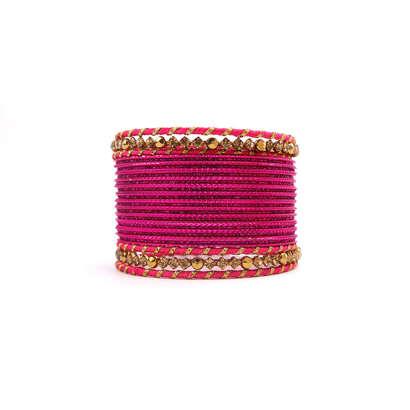Stay Classy Bangle Set in Hot Pink