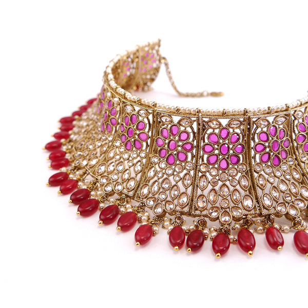 Flora Bridal Necklace Set in Ruby