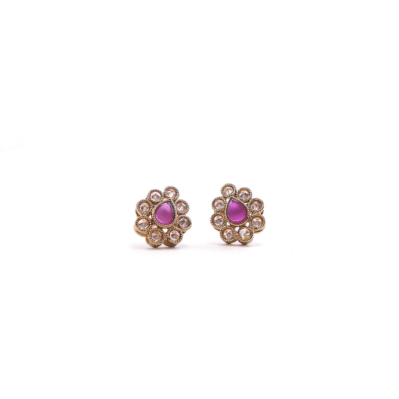 Naya Teardrop Studs in Pink