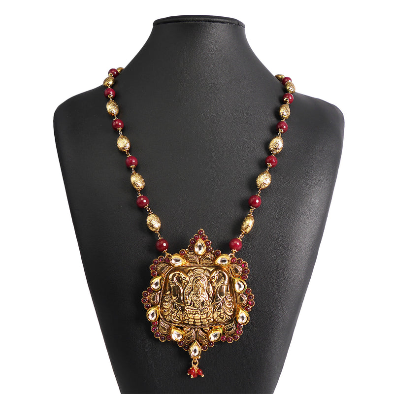 Goddess Pendant Set in Ruby