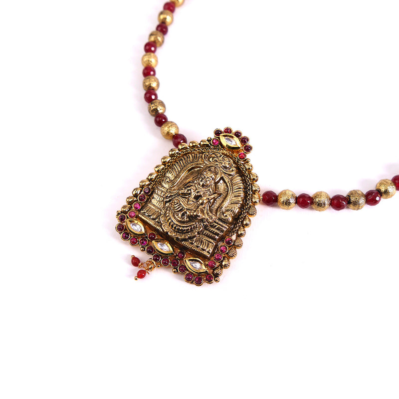 Temple Goddess Pendant Set in Ruby