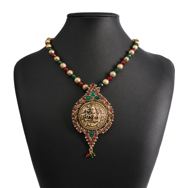 Goddess Pendant Set in Maroon and Emerald