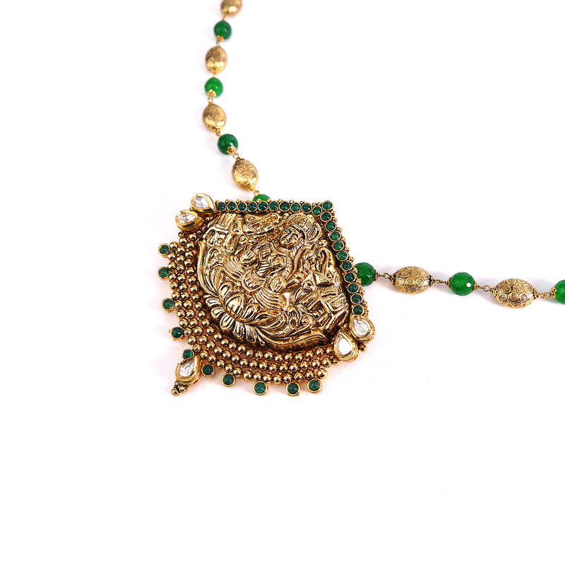 Madurai Goddess Pendant Set in Emerald
