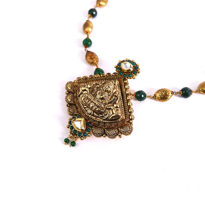Goddess Pendant Set in Emerald