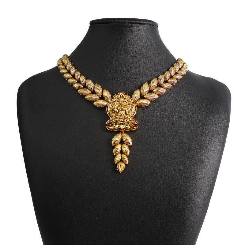 Double Leaf Necklace Set in Antique Gold