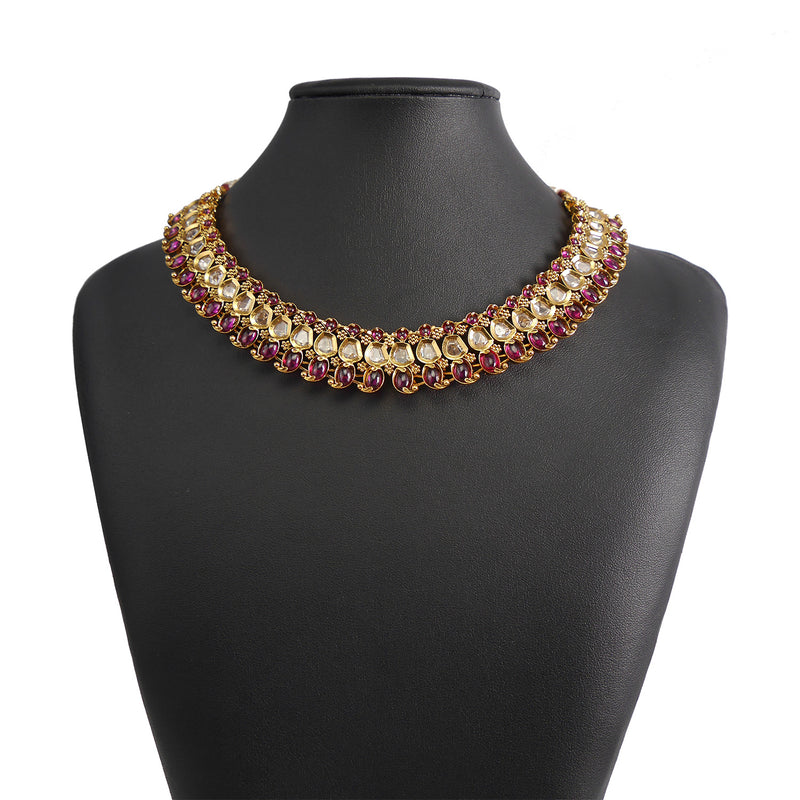 Ekta Necklace set in Ruby