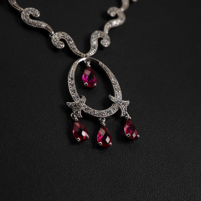 Oval Cubic Zirconia Necklace Set