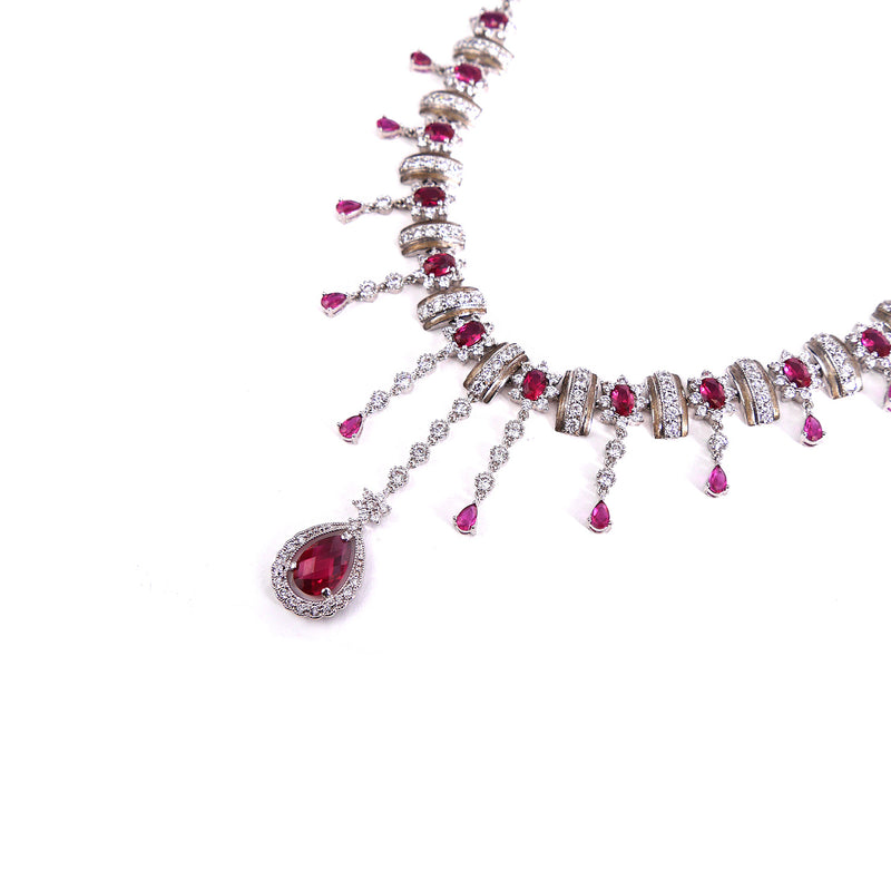 Cascade Cubic Zirconia Set with Ruby
