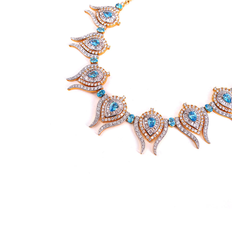 Aqua Marine Cubic Zirconia Necklace Set