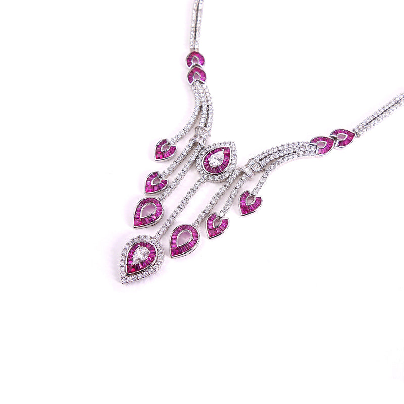 Ruby Leaf Cubic Zirconia with Ruby
