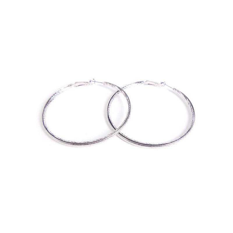 Etched Rhodium Hoops in Rhodium