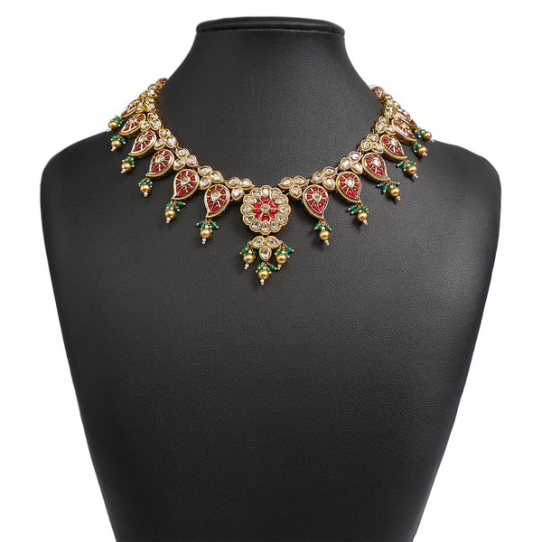 Rose Necklace Set in Kundan