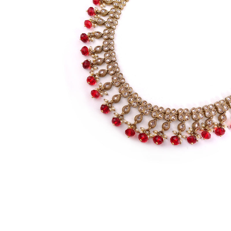 Double Row Red Necklace and Earrings