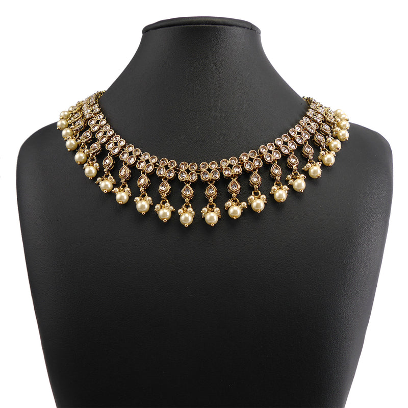 Double Row Champagne and Pearl Necklace and Earrings