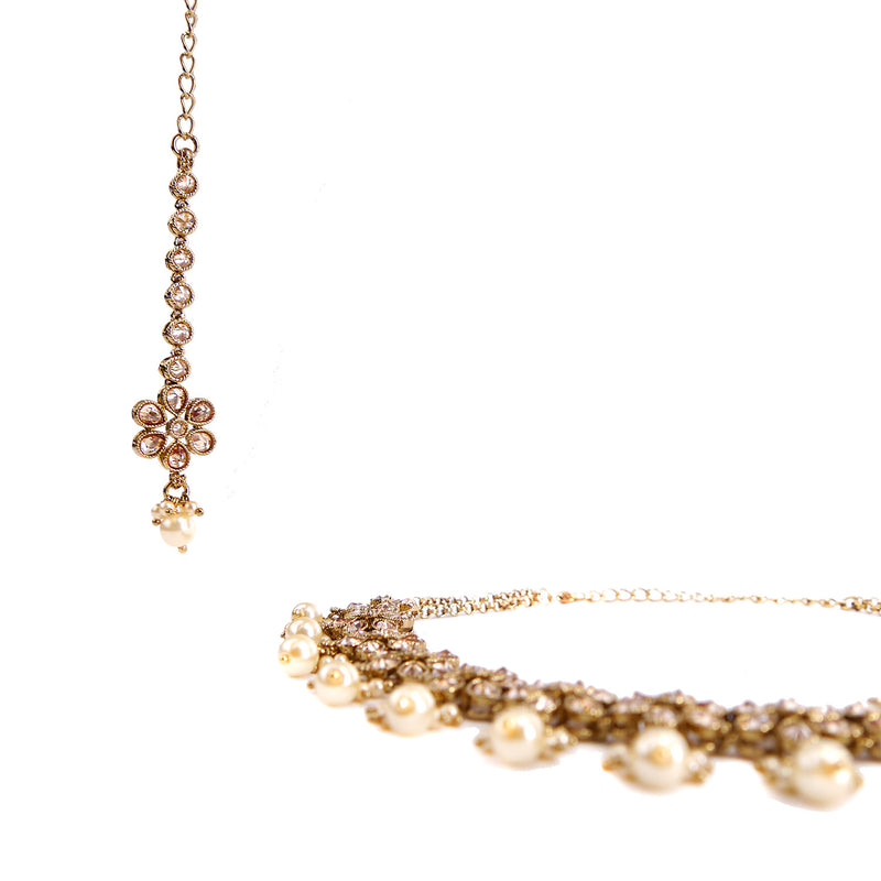Pearl and Antique Gold Necklace Set