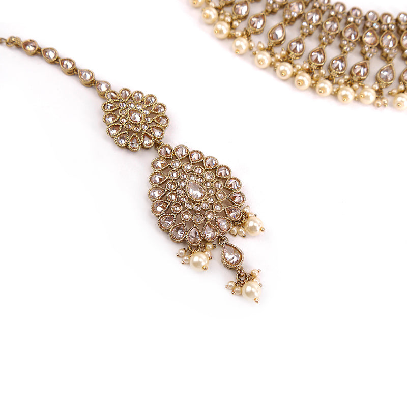 Sneha Bridal Necklace Set in Pearl and Gold