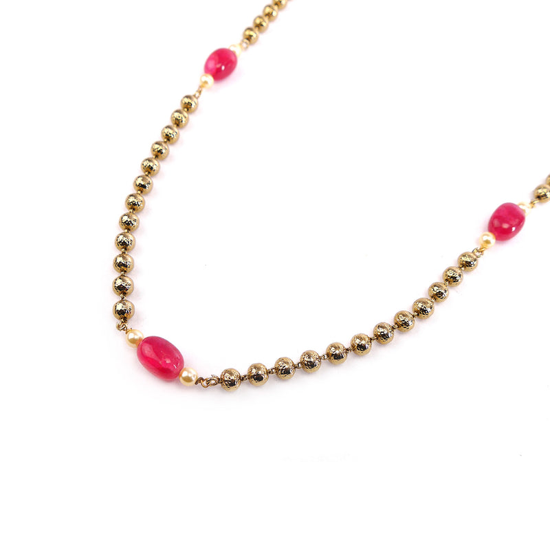 Ruby and Gold Ball Chain