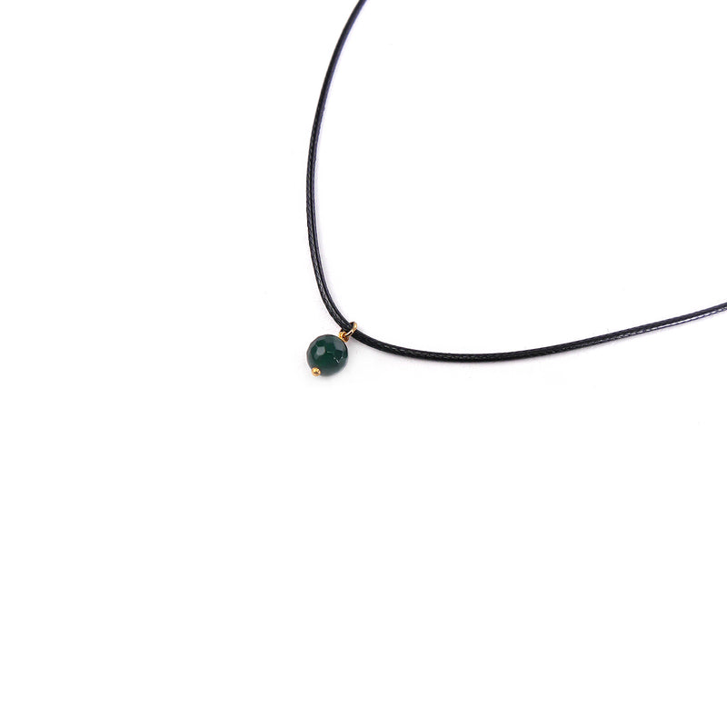 Faux Leather Necklace with Deep Green Crystal