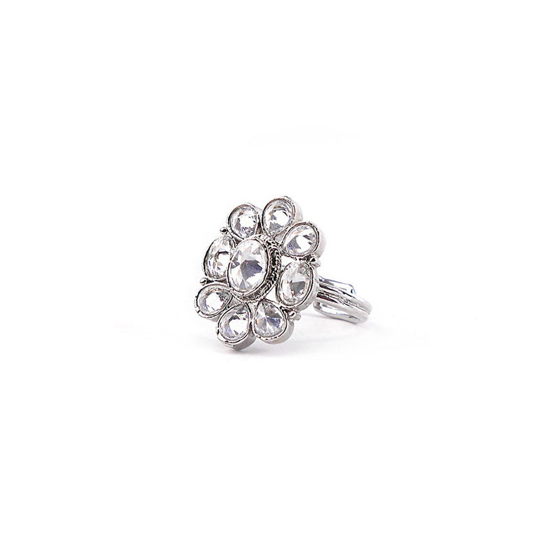 Oval Ring in Rhodium Plating