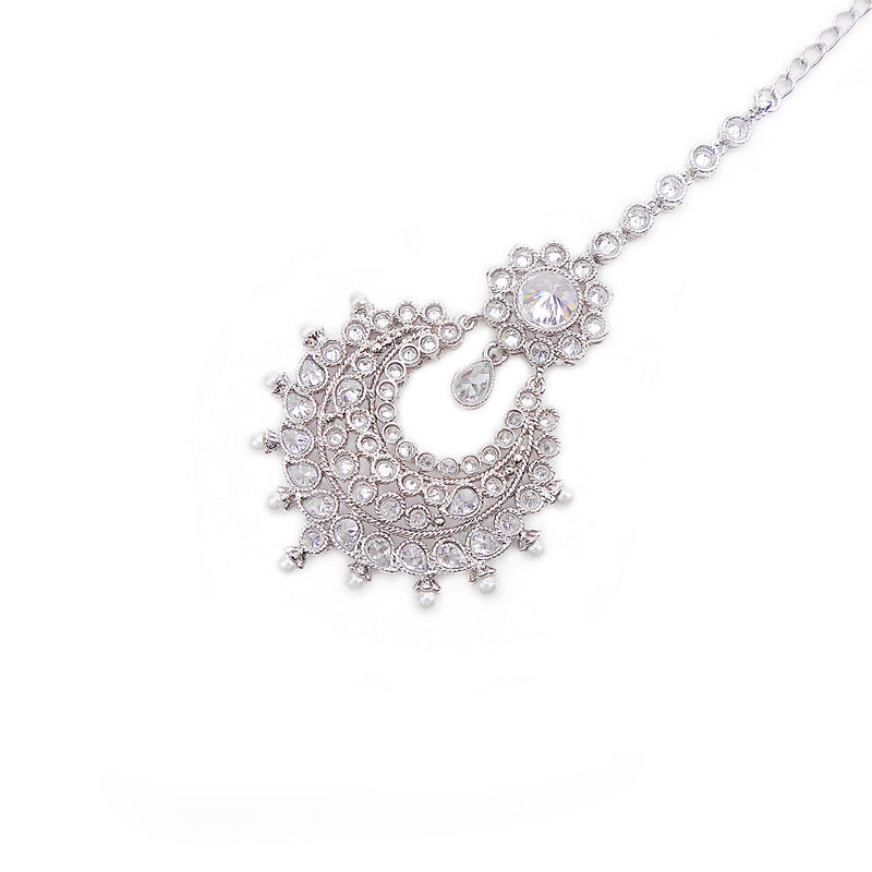 Rhodium Chand Tikka with Pearl