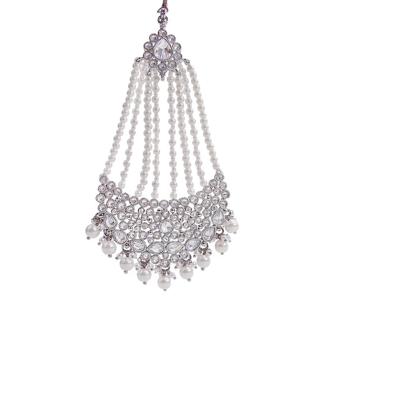 Jia Jhumar in Rhodium and Pearl