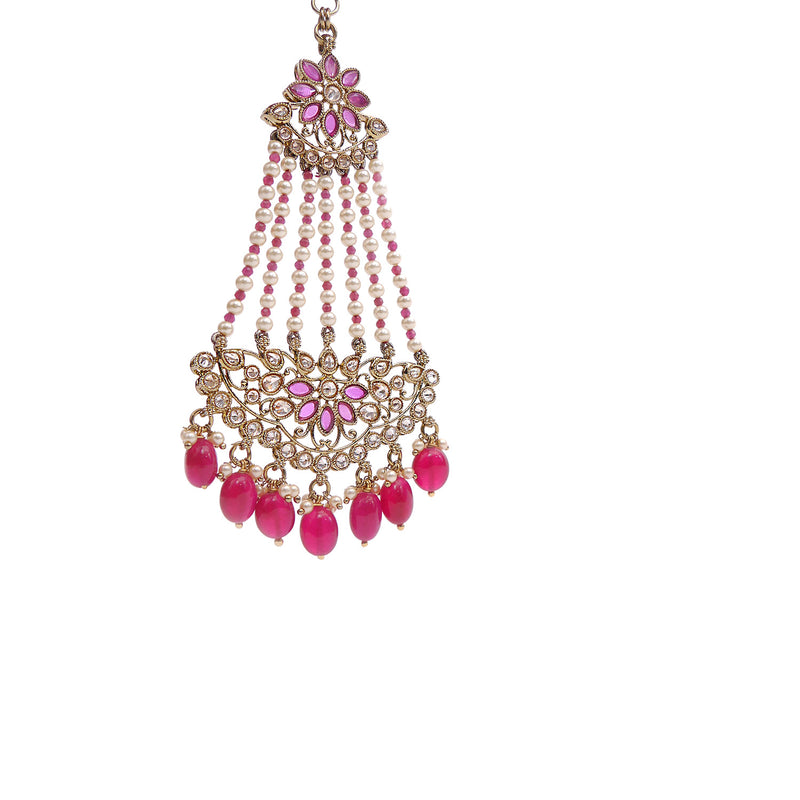 Ruby Petal Jhumar Headpiece