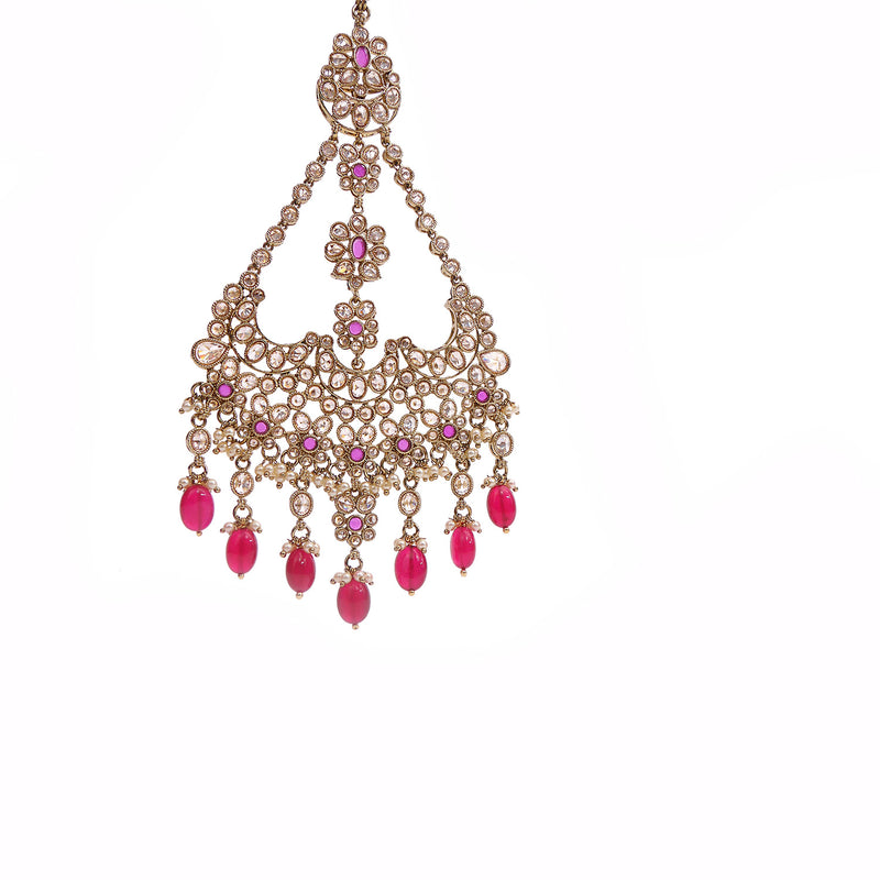 Palak Jhumar Headpiece in Maroon