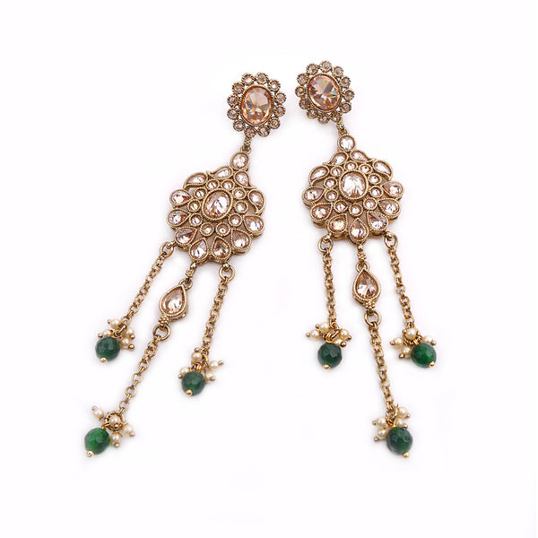 Mina Long Earrings in Emerald