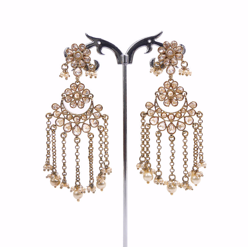 Usha Chandelier Earrings in Pearl and Gold