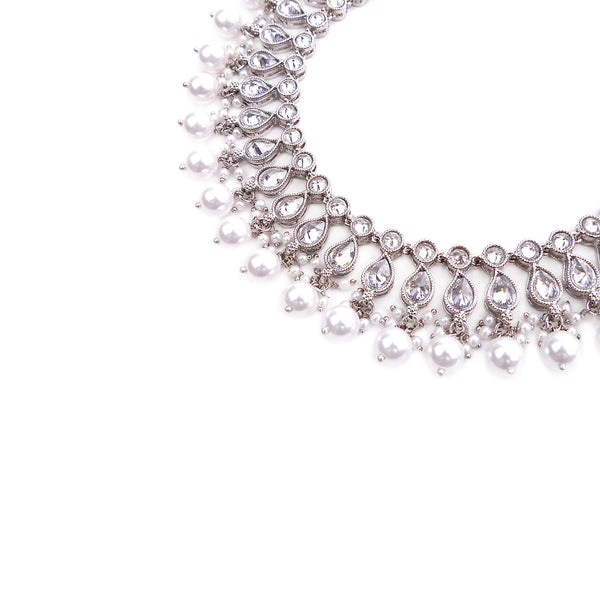 Jeiya Anklet in Pearl and Rhodium