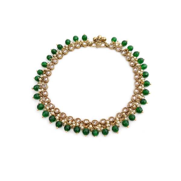 Antique Oval Emerald Anklet