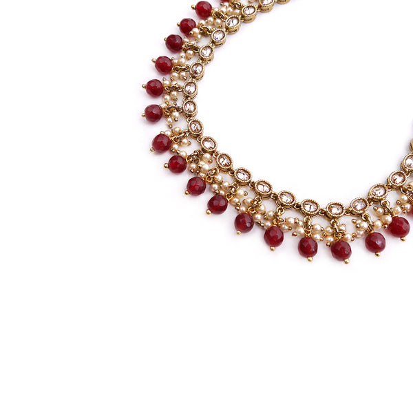 Antique Oval Anklet in Maroon