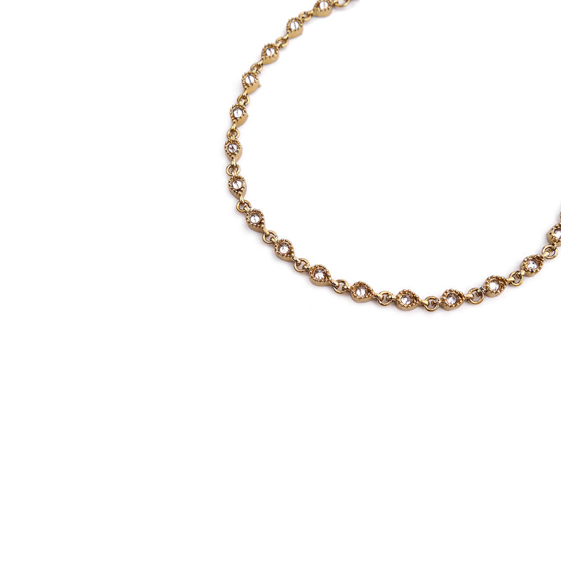 Sara Crystal Anklet in Gold