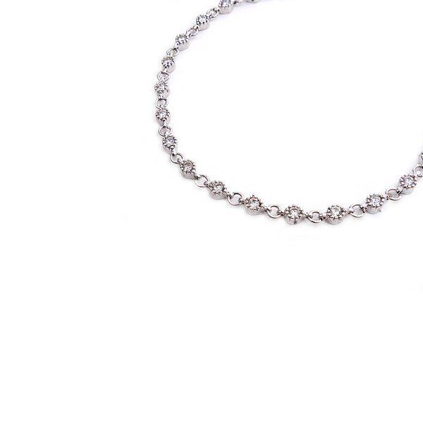 Sara Crystal Anklet in Rhodium