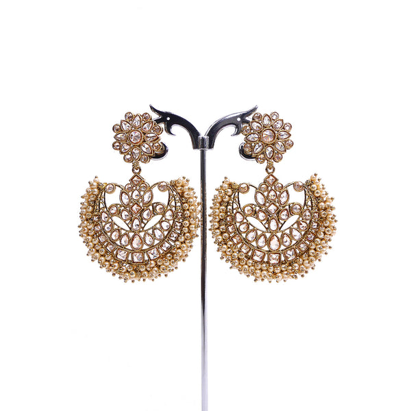 Round Drop Earrings with Pearls