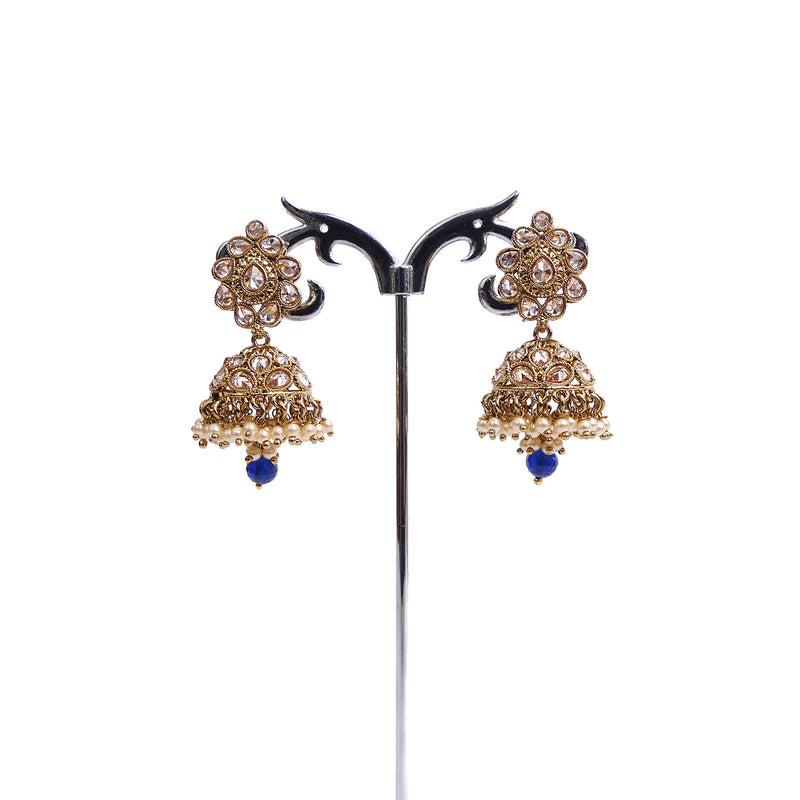 Menka Jhumka Earrings in Blue