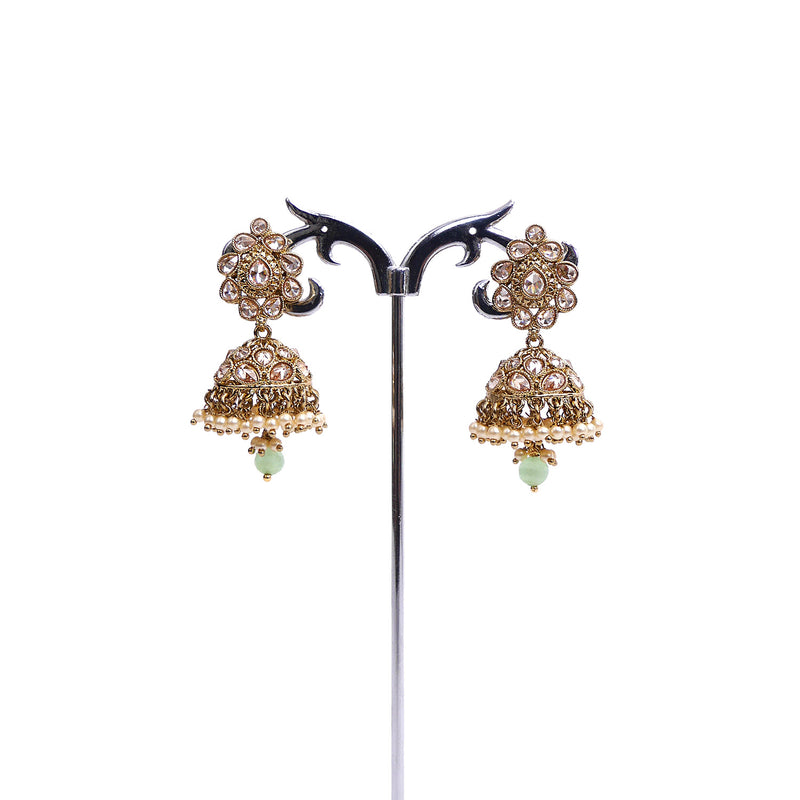 Menka Jhukma Earrings in Mint