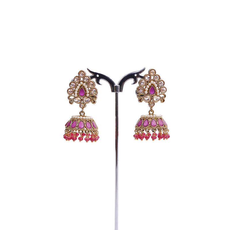 Ruby And Pearl Jhumka Earrings